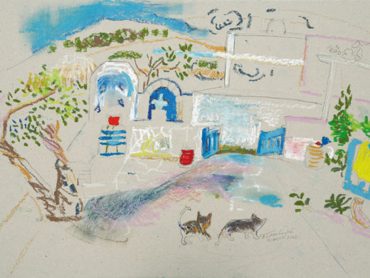 Margarita's backyard - 17x30 - 2014 ---- Λαδοπαστέλ σε χαρτόνι -
