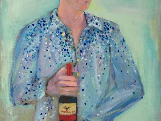 το πορτραίτο του Φρανσέσκο με το μπουκάλι κρασί - Bringing wine and light - 70x100cm - acrylics on linen_1500px